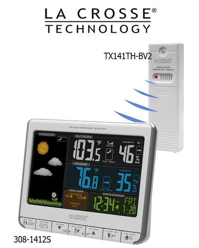 308-1412S La Crosse Colour Weather Station with USB Charging Port