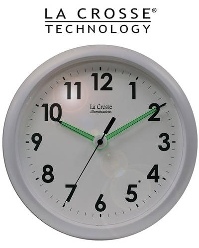 403-310 La Crosse 25cm Wall Clock with Glowing Hands