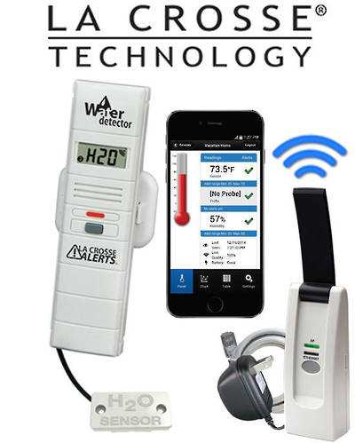 926-25104 LA CROSSE WIFI Temp & Humidity Alert System with Remote Water Leak Detector