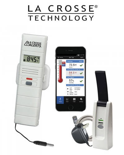 926-25106-WGB LA CROSSE WIFI Temp & Humidity Alert System with Standard Wet Temp Probe