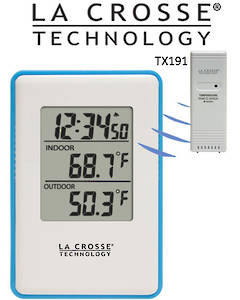 308-1910B La Crosse Blue Panel Wireless Indoor Outdoor Thermometer