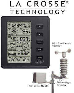 308-2316 La Crosse Professional Digital Black Weather Station
