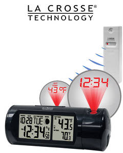 616-143 Projection Alarm Clock with In/Outdoor Temperature