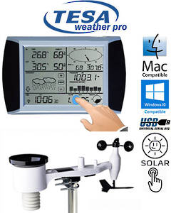 WS1081 Ver3 TESA Solar Powered Touch Panel Weather Center with PC interface