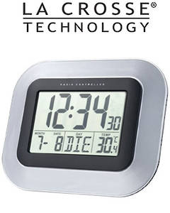 WS8005 La Crosse 24cmx19cm Wall Clock with Indoor Temperature
