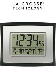 WT-8002U La Crosse 23cm x 18cm Wall Clock with Indoor Temp and Calendar