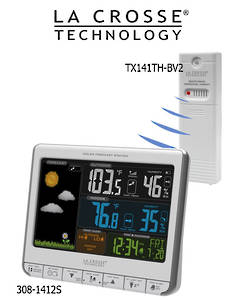 308-1412S La Crosse Color LCD Wireless Weather Station with USB Charging Port