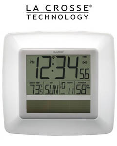 WT-8112U-WH Solar Digital Wall Clock with Indoor Temperature and Humidity